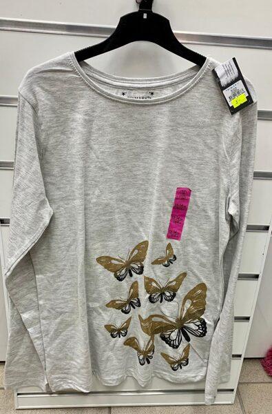 Garroku krekls 13-14 gadi/164cm/Pelēks ar taureņiem.