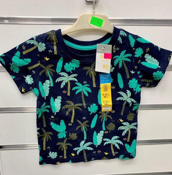 Īsroku krekls 9-12 mēn./80cm/Tumšs ar zaļām palmām.