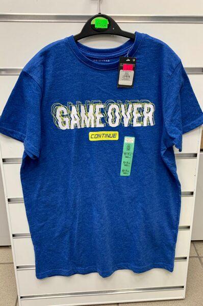 Īsroku krekls 10-11 gadi/146cm/Zils ar uzrakstu Game over