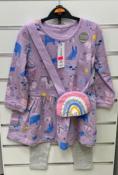 Tunika+Legingi/2-3 gadi/92-98cm/Violeta ar dzīvniekiem+Pelēki legingi+somiņa/George