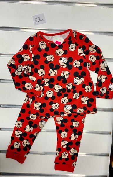 Pidžama garās rokas+garās bikses/9-12 mēn./80cm/Sarkana ar mikipelēm.