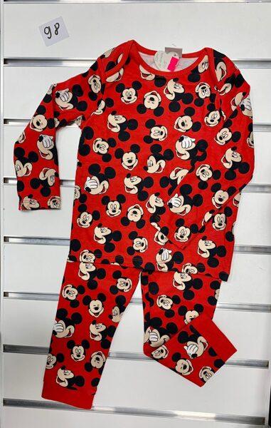 Pidžama garās rokas+garās bikses/2-3 gadi/98cm/Sarkana ar mikipelēm.
