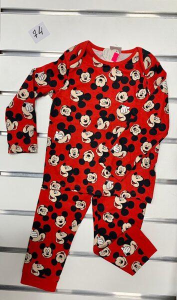 Pidžama garās rokas+garās bikses/6-9 mēn./74cm/Sarkana ar mikipelēm.