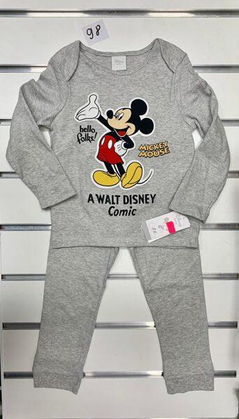 Pidžama garās rokas+garās bikses/2-3 gadi/98cm/Pelēka ar Mickey Mouse