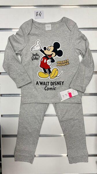 Pidžama/garās rokas+garās bikses/6-9 mēn./74cm/Pelēka Mickey Mouse