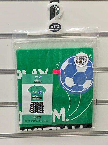 Pidžama zēniem/īsā/10-11 gadi/140-146cm/Zaļa ar futbola tematiku.
