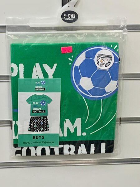Pidžama zēniem/īsā/9-10 gadi/134-140cm/Zaļa ar futbola tematiku.