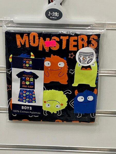 Pidžama zēniem/īsā/2-3 gadi/92-98cm/Melna augša+zila apakša/Monsters