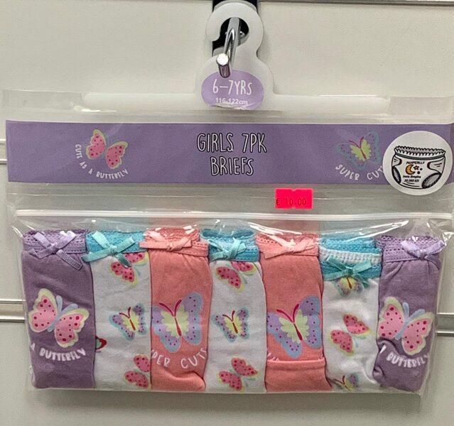 Apakšbikses meitenēm 7gb/6-7 gadi/116-122cm/Violetas, rozā, baltas ar taureņiem.