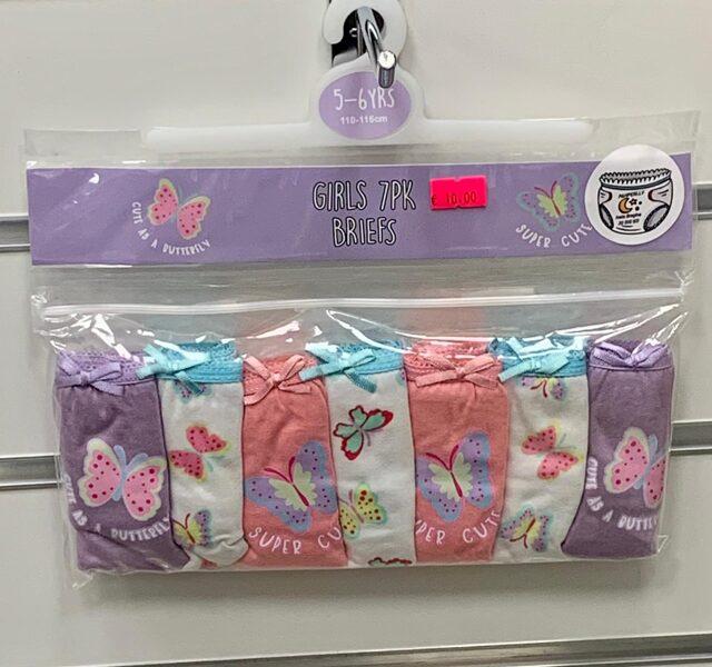 Apakšbikses meitenēm 7gb/5-6 gadi/110-116cm/Viletas, rozā, baltas ar taureņiem.