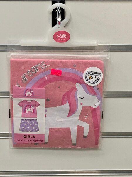 Pidžama meiteņu/īsā/2-3 gadi/92-98cm/Rozā augša ar varavīksni un vienradzi+violeta apakša