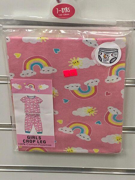 Pidžama meiteņu/īsās rokas+pusgarās kājas/7-8 gadi/122-128cm/Rozā ar varavīksnēm