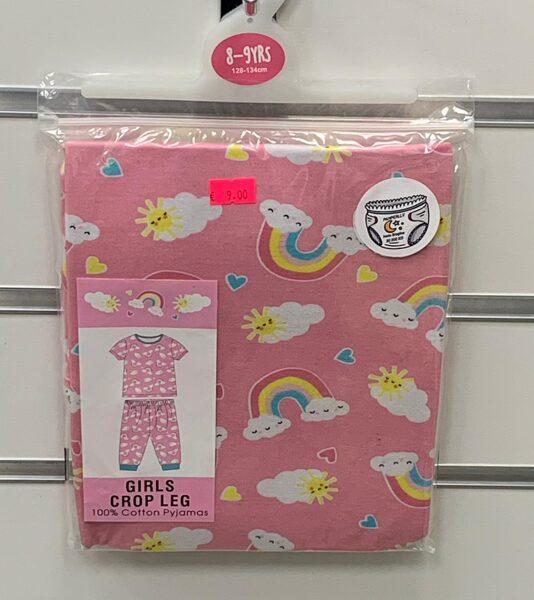 Pidžama meiteņu/īsās rokas+pusgarās kājas/8-9 gadi/128-134cm/Rozā ar varavīksnēm