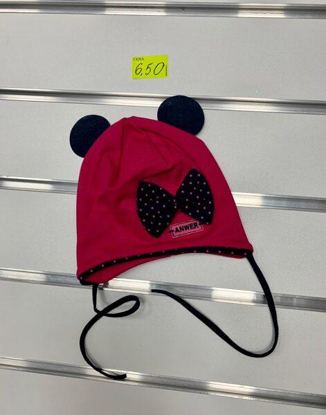 Pavasara cepure meitenēm/Sarkana ar melnām austiņām un punktainu lenti/Izmērs 1-3 gadi (jāmēra)