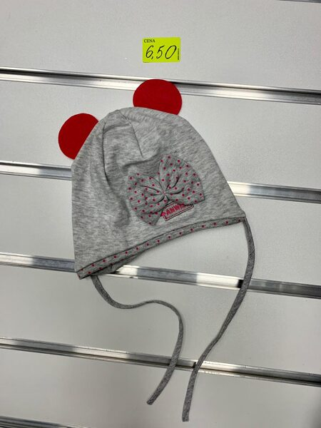 Pavasara cepure meitenēm/Pelēka ar sarkanām austiņām un punktainu lenti/Izmērs 1-3 gadi (jāmēra)