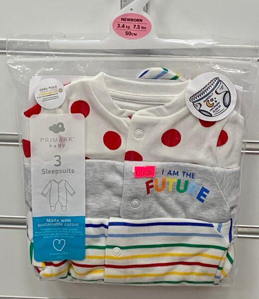 Pidžama (slipiji) 3gb/-3,4 kg/50cm/Balts ar sarkanām pumpām+Pelēks+Svītrains