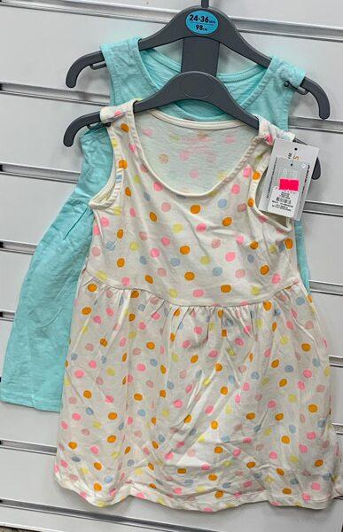 Vasaras kleitiņas 2gb/2-3 gadi/98cm/Gaiši zila+Pumpaina.