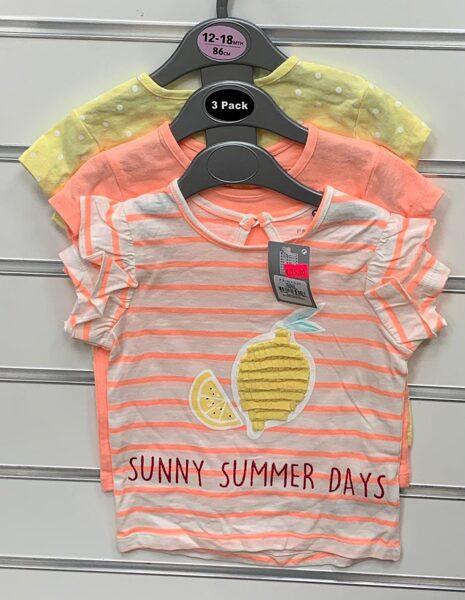 Īsroku krekliņi 3gb/12-18 mēn./86cm/Dzeltens ar pumpām+Oranžs+Svītraisn ar uzrakstu Sunny Summer Days.
