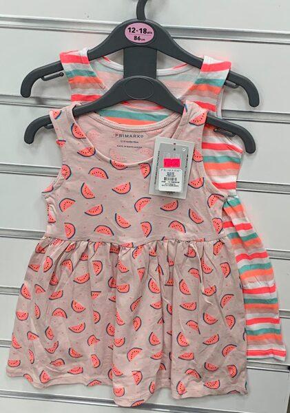 Vasaras kleitiņas 2gb/bezroku/12-18 mēn./86cm/Svītraina+Rozā ar arbūziem.