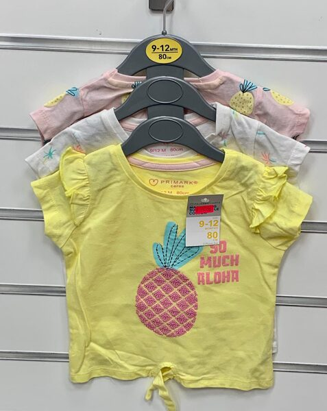 Īsroku krekliņi 3gb/9-12 mēn./80cm/Gaišas krāsas ar ananasiem.