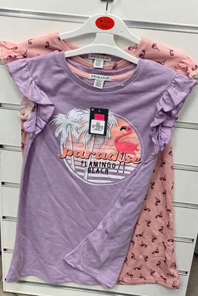 Vasaras kleitas 2gb/6-7 gadi/122cm/Rozā+violeta ar flamingo.