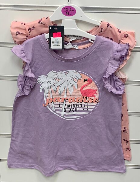 Vasaras kleitas 2gb/18-24 mēn./92cm/Rozā+violeta ar flamingo.