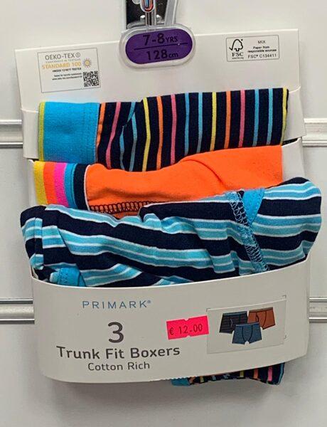 Apakšbikses zēniem 3gb/Boxer/7-8 gadi/128cm/Svītrainas, oranžas, gaiši zilas ar melnām svītrām.