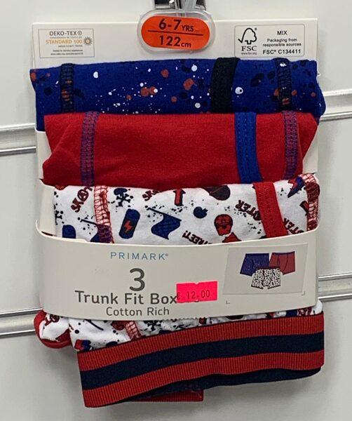 Apakšbikses zēniem 3gb/Boxer/6-7 gadi/122cm/Sarkanas, zilas un baltas ar karodziņiem.