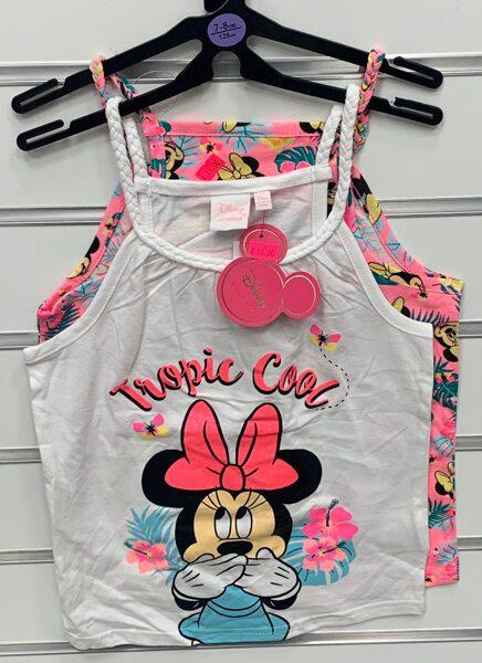 Vasaras krekliņi 2gb/bezroku/7-8 gadi/128cm/Rozā +balts ar Minnie Mouse tematiku/Tropic cool.
