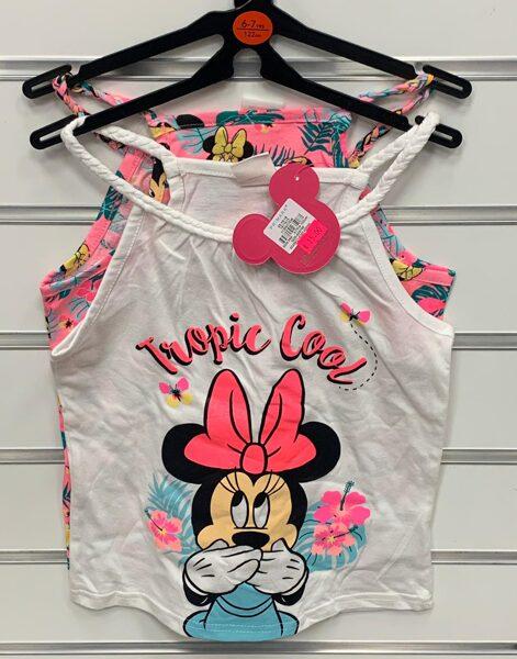 Vasaras krekliņi 2gb/bezroku/6-7 gadi/122cm/Rozā +balts ar Minnie Mouse tematiku/Tropic cool.