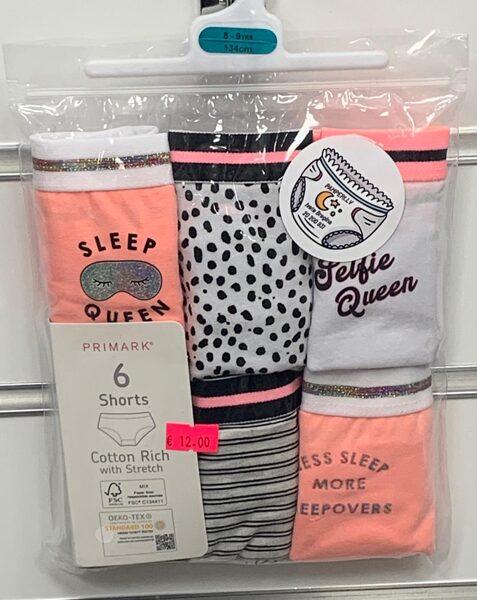 Apakšbikses meitenēm 6gb/8-9 gadi/134cm/Shorts, ar platu jostas vietu/oranžas, pelēkas, baltas ar melniem plankumiem.