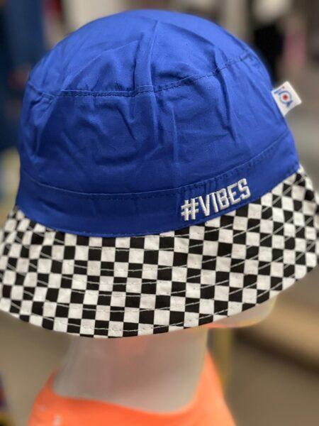Vasaras cepure zēniem/izmērs 50;54/aizmugurē savelkama aukla/zila ar rūtainu malu/Vibes