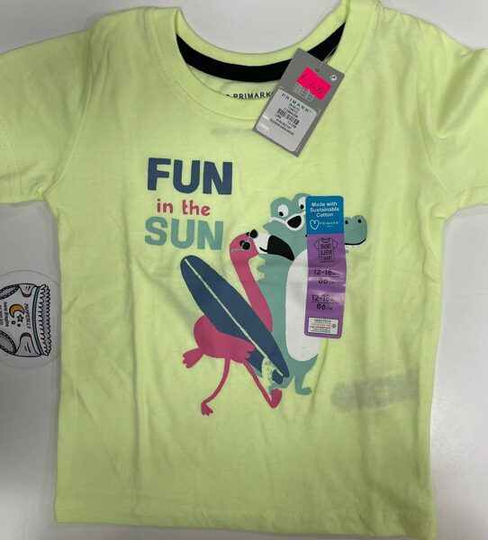 Īsroku krekls 12-18 mēn./86cm/Dzeltens ar uzrakstu Fun in the Sun.