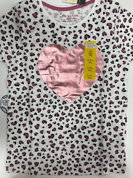 Īsroku krekls 5-6 gadi/116cm/Balts ar rozā sirsniņām un spīdīgu sirdi vidū.
