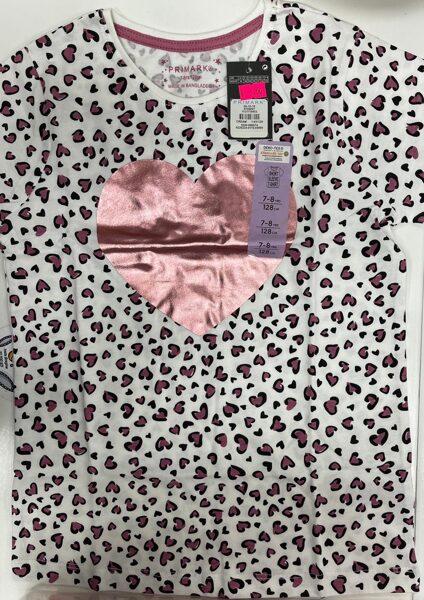 Īsroku krekls 7-8 gadi/128cm/Balts ar rozā sirsniņām un spīdīgu sirdi vidū.