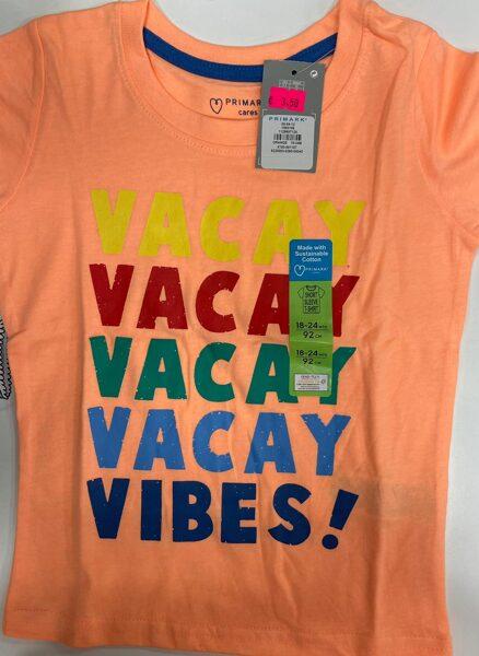 Īsroku krekls 18-24 mēn./92cm/Oranžs ar uzrakstu Vacay Vibes!