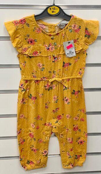 Vasaras romperis 9-12 mēn./80cm/Tumši dzeltens, smilšu krāsas/ar ziediem.