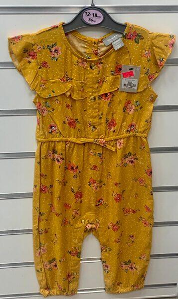Vasaras romperis 12-18 mēn./86cm/Tumši dzeltens(smilšu krāsā)/ar ziediem.