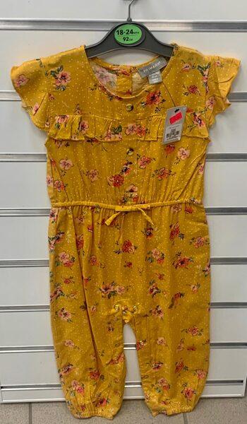 Vasaras romperis 18-24 mēn./92cm/Smilšu krāsas ar puķēm.