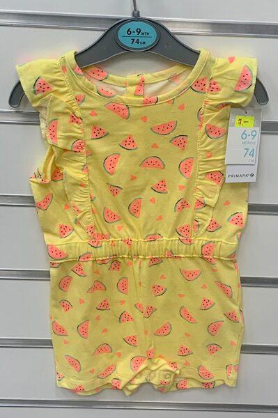 Vasaras romperis 6-9 mēn./74cm/Dzeltens ar arbūza gabaliņiem.