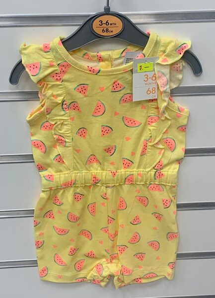 Vasaras romperis meitenēm 3-6 mēn./68cm/Dzeltens ar arbūza gabaliņiem.