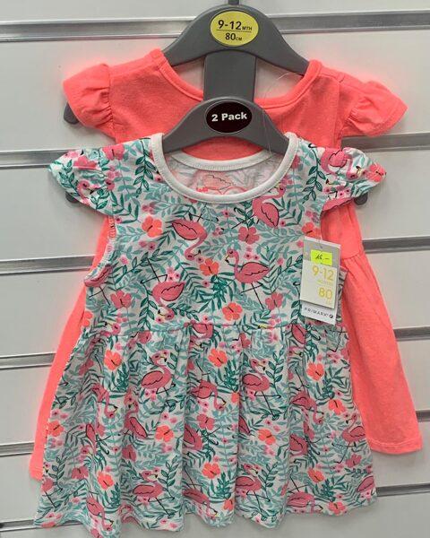 Vasaras kleitas 2gb/9-12 mēn./80cm/Oranža+Balta zaļganām lapām un rozā flamingo.