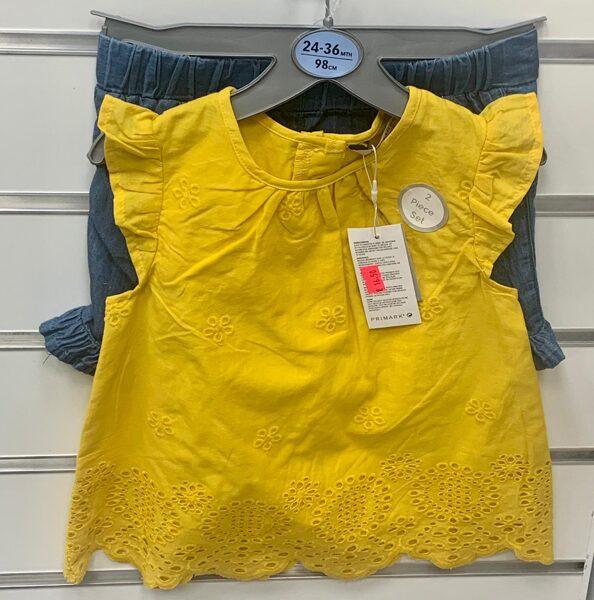 Vasaras komplekts meitenēm 2-3 gadi/98cm/Dzeltens krekliņš+zili šorti.