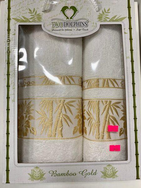 Dvieļi 2gb/50*90-1gb/70*140-1gb/Balti ar zelta palmām.