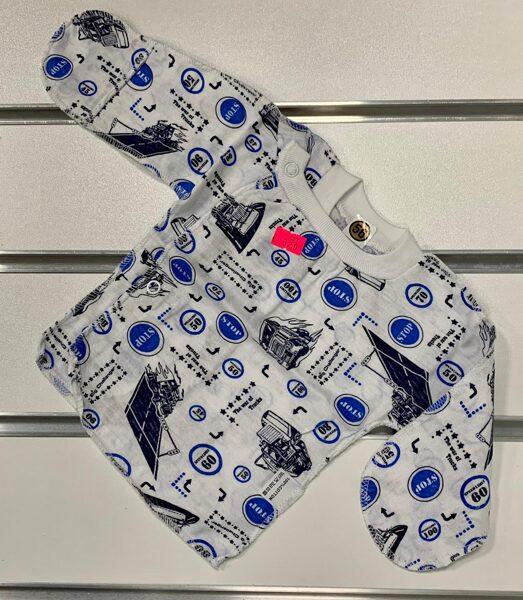 Garroku krekliņš jaundzimušajiem/0-3 mēn./56cm/Balts ar zilām ceļa zīmēm un auto, aizlokāmas rociņas.