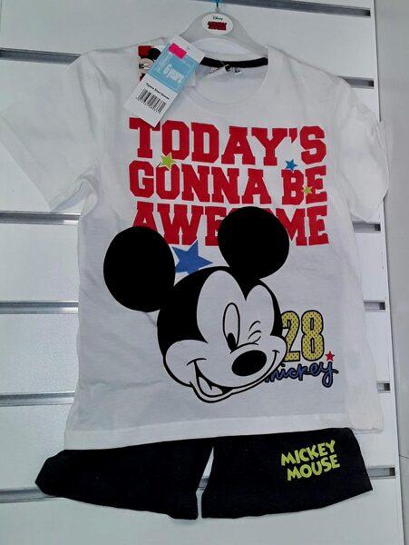 Vasaras komplekts zēniem 6gadi/116cm/Balts krekliņš ar uzrakstu Today'S Gonna be Awesome+melni šorti/Mickey Mouse