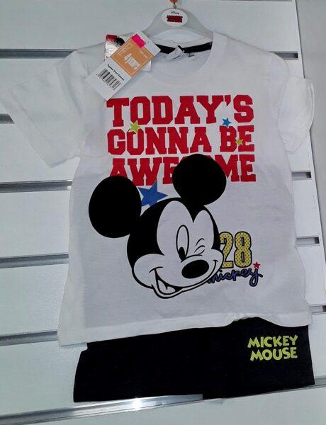 Vasaras komplekts zēniem 4 gadi/104cm/Balts krekliņš ar uzrakstu Today'S Gonna be Awesome+melni šorti/Mickey Mouse