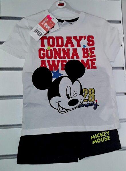 Vasaras komplekts zēniem 5gadi/110cm/Balts krekliņš ar uzrakstu Today'S Gonna be Awesome+melni šorti/Mickey Mouse