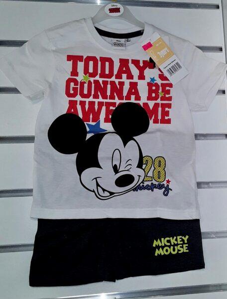 Vasaras komplekts zēniem 3 gadi/98cm/Balts krekliņš ar uzrakstu Today'S Gonna be Awesome+melni šorti/Mickey Mouse