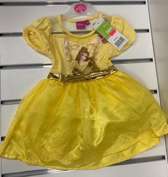 Kleita Princess/2gadi/92cm/Dzeltena, ar īsām rokām, ar zeltītu jostiņu.